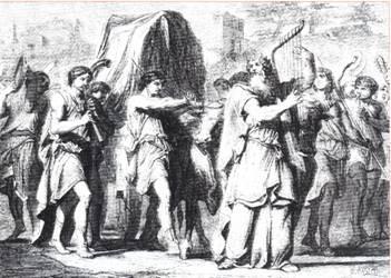 A Sketch of King David Bringing the Ark to Jerusalem