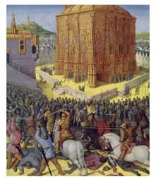 Siege of Jerusalem by Nebuchadnezzar, Illustration from the French Translation by Jean Fouquet