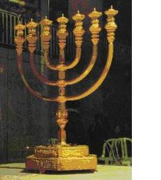 The Menorah built by Machon Hamikdash in Israel, which is on display in the Cardo in the old city of Jerusalem.
