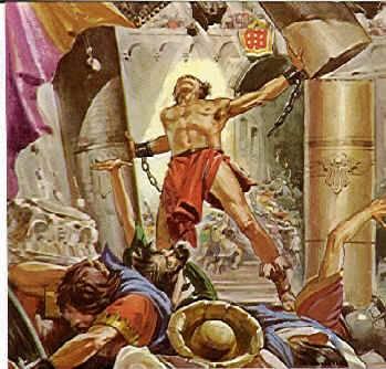 Shimshon (Samson) destroying the pillars of the Philistine Temple