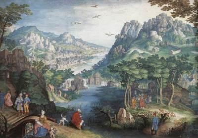 Mountain Landscape with River Valley and the Prophet Hosea CONINXLOO, Gillis van (b. 1544, Antwerpen, d. 1607, Amsterdam)