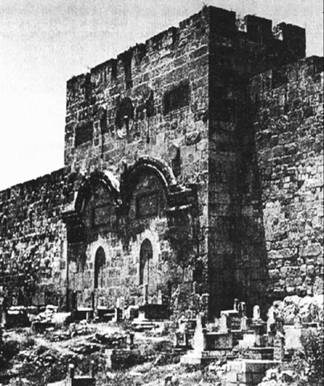 The Golden Gate which is, according to prophesy,the gate that the Messiah will enter the old city through