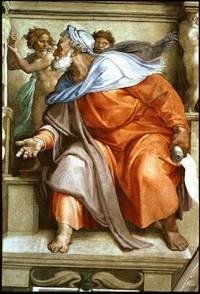 Painting of the Prophet Ezekiel by: Michelangelo