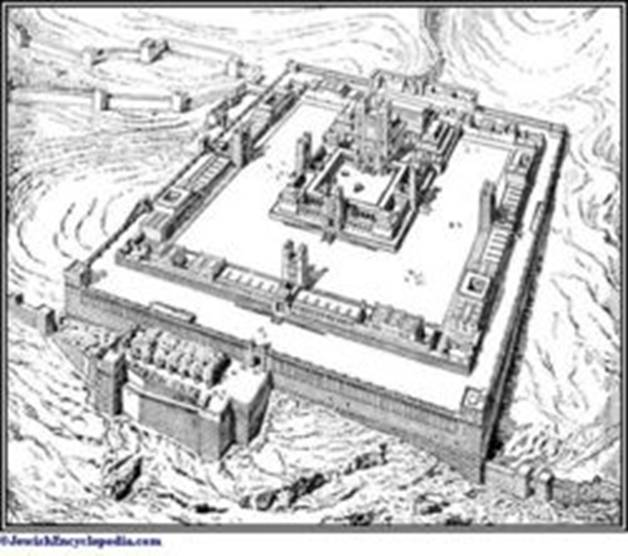 A drawing of Ezekiel's Visionary Temple from the Book of Ezekiel 40-47