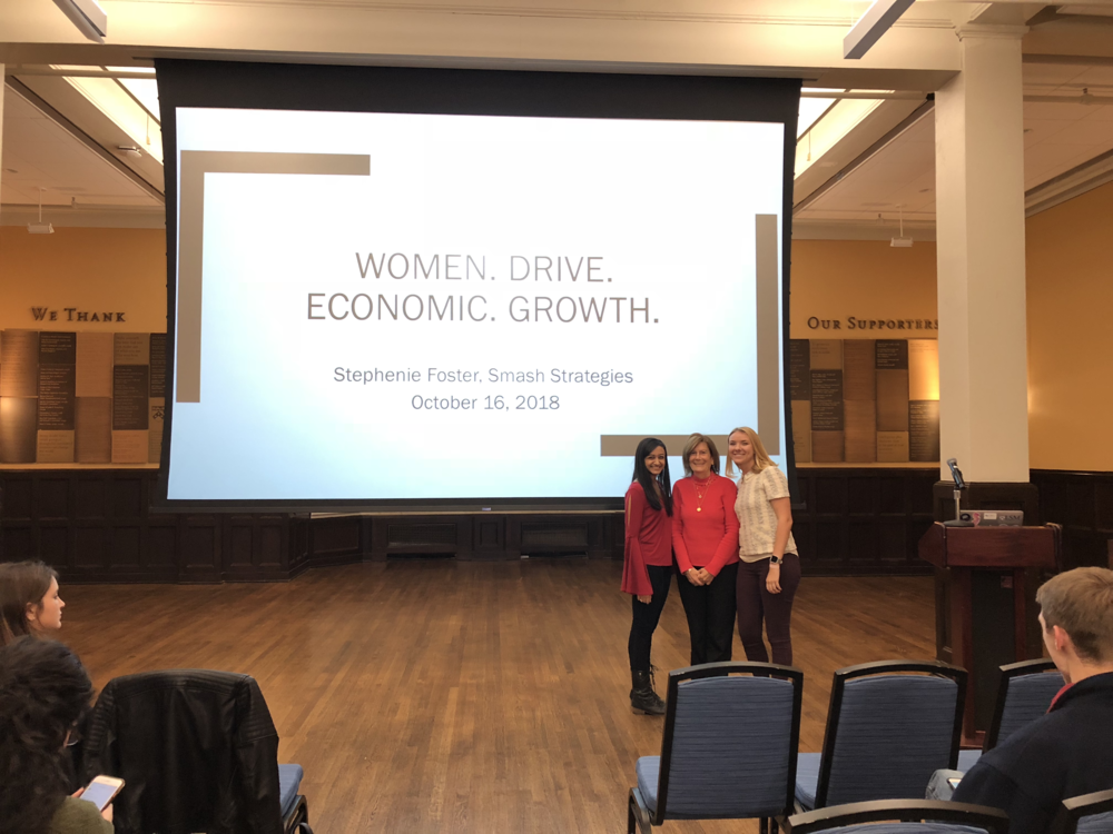 Stephenie Foster (center) and Co-Presidents Sarina Divan (left) & Becca Bean (right)