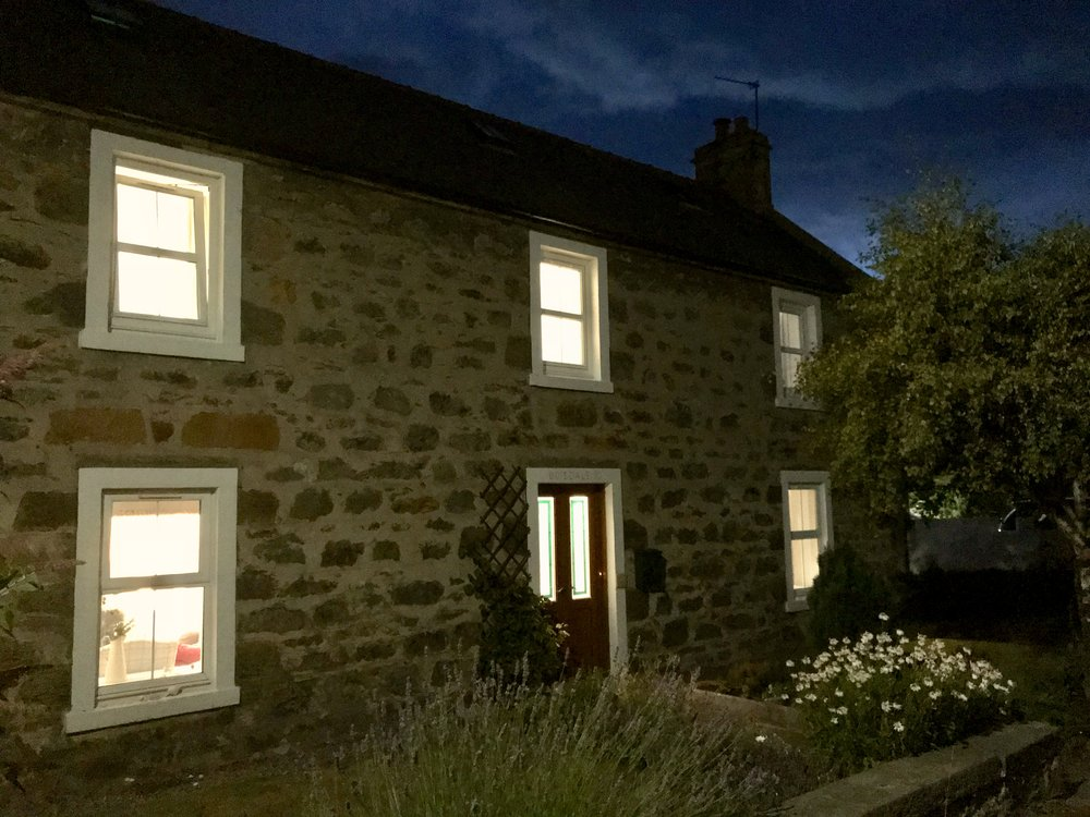 Boisdale Cottage at night