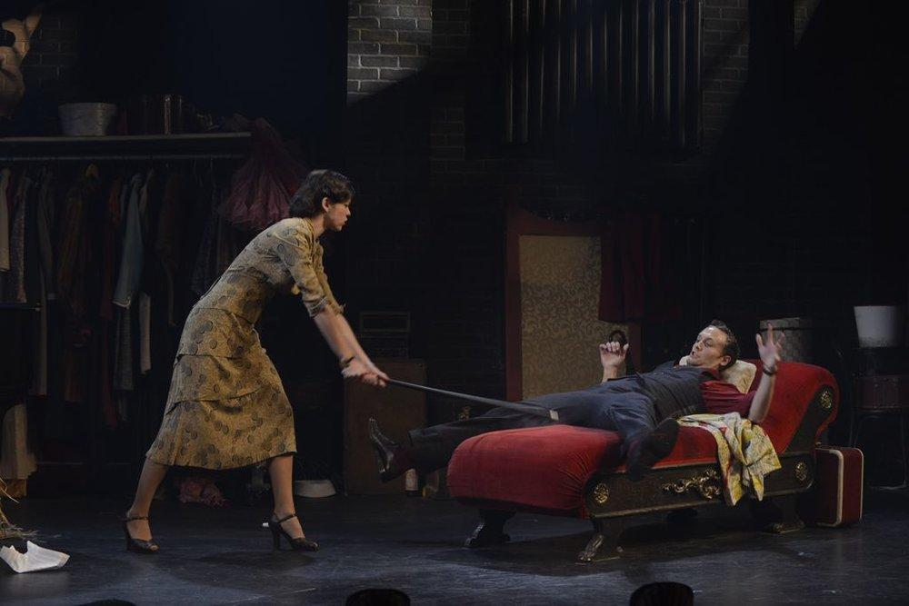 Some creative differences (Deirdre Donovan as Molly, Danny Gardner as Toes).