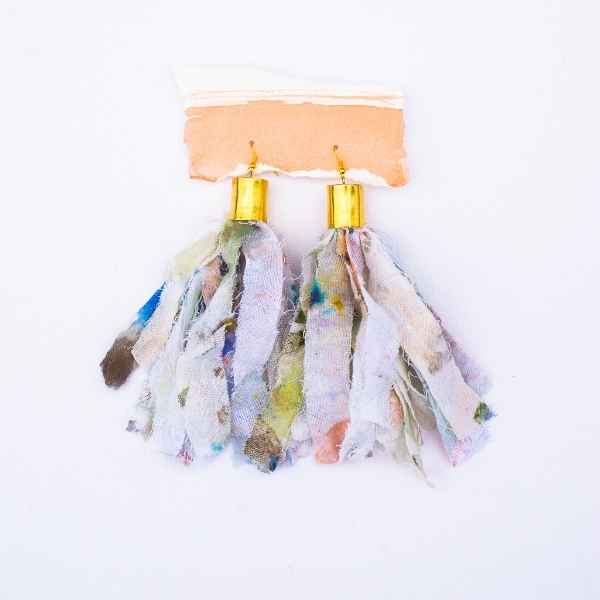 So if I left you craving art for jewelry, but not craving that $500 price point, then you should check out these one-of-a-kind pieces by Elaine Burge! Her latest collection is made of actual materials from her studio (like these tassel earrings made from a paint rag! Or necklaces made from an easel!). How cool is that?! And at $90, it is muchhhh more accessible!