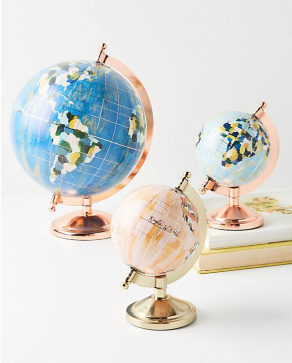 These globes are designed by Kayla Weber Nord for Anthropologie & they are basically the cutest thing ever! And probably the most perfect gift for any travel and art lover in your life! I can just picture it beautifully perched on a mantel or atop a stack of books on their desk. And if you are looking for an original globe from Kayla, well let's cross our fingers that we are fast enough to snag one the next time she releases a glob collection (I have it on good authority (*Kayla*) that it is closer than you may think, so you should probably sign up for her email list if you haven't already!). ($18-$38)