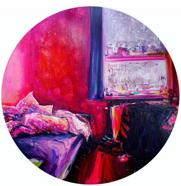"Have to end this section with a really unique piece (because have you seen another round painting or drawing on here?!)! I find it interesting that what I am drawn to is not necessarily aesthetically similar to what I create. This piece by Ekaterina Popova speaks to my soul. I find so much comfort in the familiarity of her messy bedrooms painted in these vibrant, dreamlike colors. It's like she is translating that happy, comfortable feeling of being in your element (you know, that secret place no one else sees where you can just be yourself) through color and movement.  About this piece: 30"" diameter, oil on wood panel, 2018 ($1200)  To inquire about purchasing, either email Kat (ekaterina.s.popova@gmail.com) or send her a message on Instagram ( @katerinaspopova )."