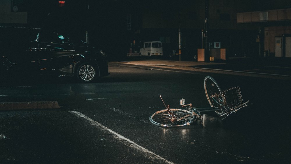 car accident site broken bicycle hit and run accident