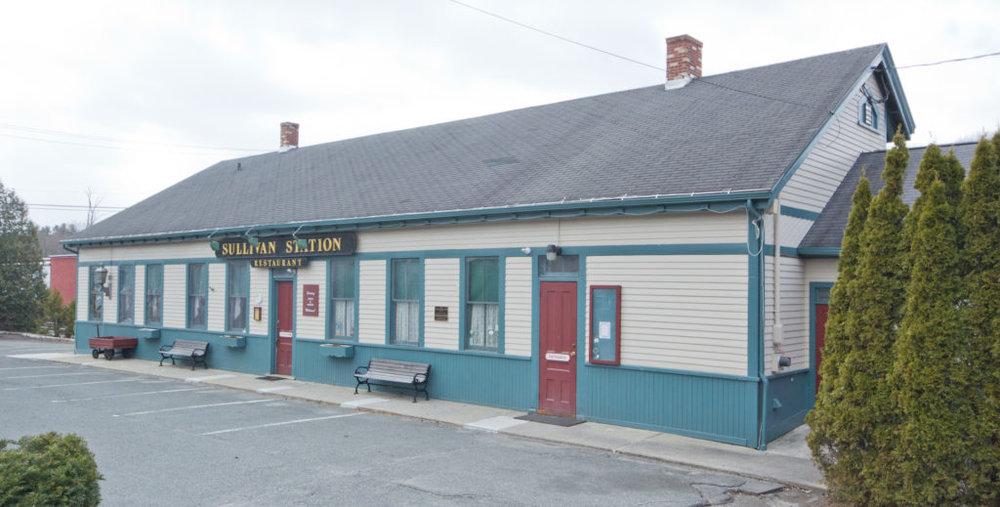 The front of Sullivan Station restaurant facing Railroad Street in Lee, Massachusetts. The former New York New Haven and Hartford rail station and subsequently a restaurant has been acquired by Eagle Mill developer Jeffrey Cohen.