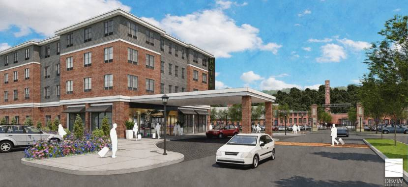 A rendering of the hotel complex that is envisioned as part of the redevelopment of the abandoned Eagle Mill property in downtown Lee, Massachusetts .