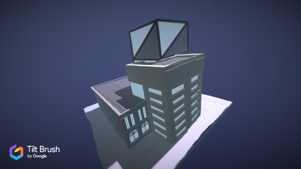 Concept Building  I created this building with three distinct sections, each depicting a different concept,past present and future, with each one taller than the last.  this image was created with Tilt Brush.