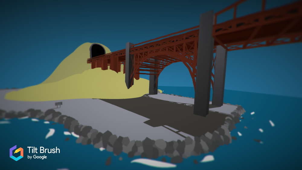 Golden Gate Bridge  In US History class, the teacher assigned a project, where the students got to choose what to create. The project had to be related to the 1920s, so I created a 3D model of the Golden Gate Bridge, and the video below.  This image was created with Tilt Brush.