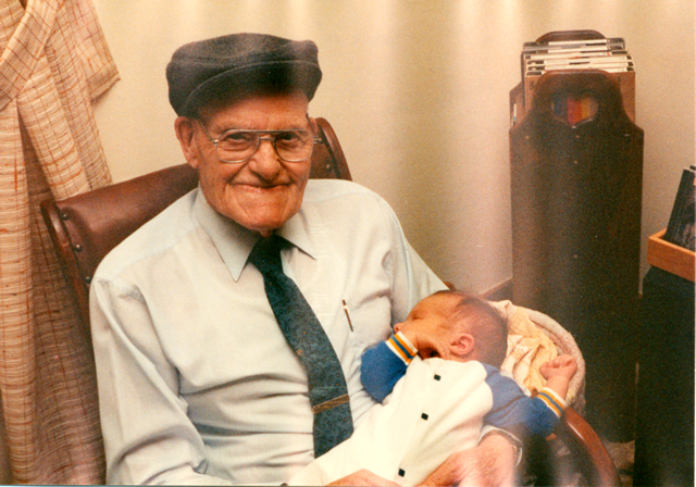 Grandpa Pete Lang with my son Kevin in 1991