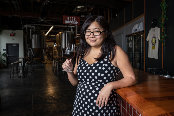 Frances Lopez, executive director of L.A. County Brewers Guild. (Jon Endow for LAist)