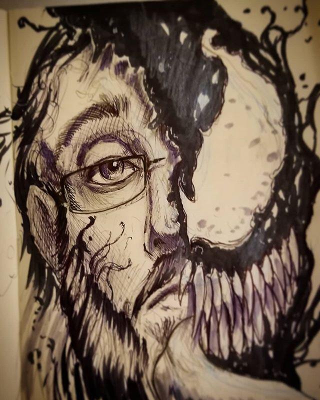 If venom liked to get weird drinking rum and listening to prince. @willralstonart  #2dudes1sketchbook #odditytattoo #hivecaps #redbeardactual #hivecups #art #draw #sarasota #srq #moleskine #sketch #sketching #bff #venom #marvel #partyonwayne #partyongarth #marvelfanart #venomart