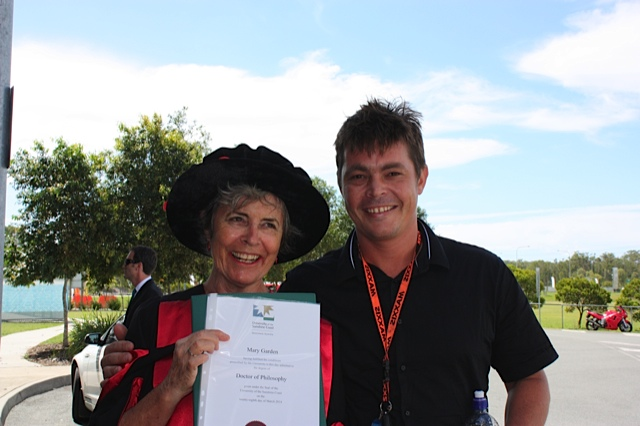 PhD ceremony at the University of the Sunshine Coast. 2014. With my son, Eamon.