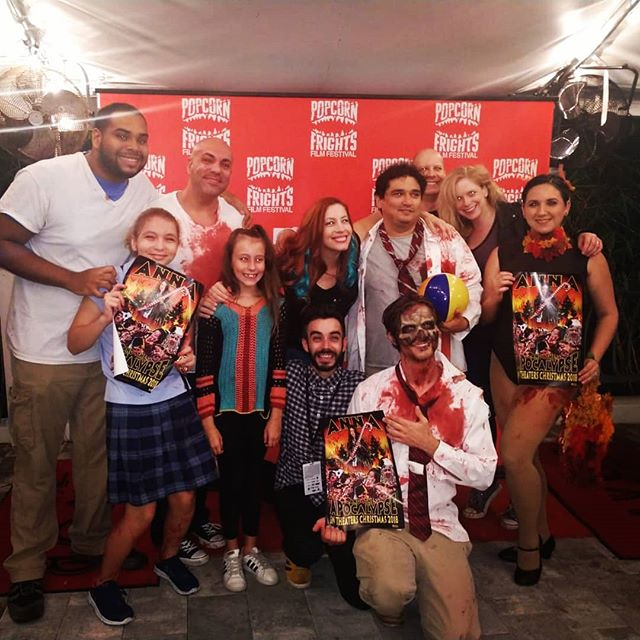 What a fun night! Thanks to these guys for their pre film zombie talent Christmas show of carnage. #orionpictures #blazinggriffin #miami #popcornfrightfest #infiniteabyssproductions #aataworldtour #aatamovie