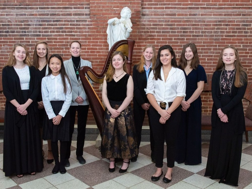 Photo: Peabody Preparatory Harp Ensemble directed by Michaela Trnkova