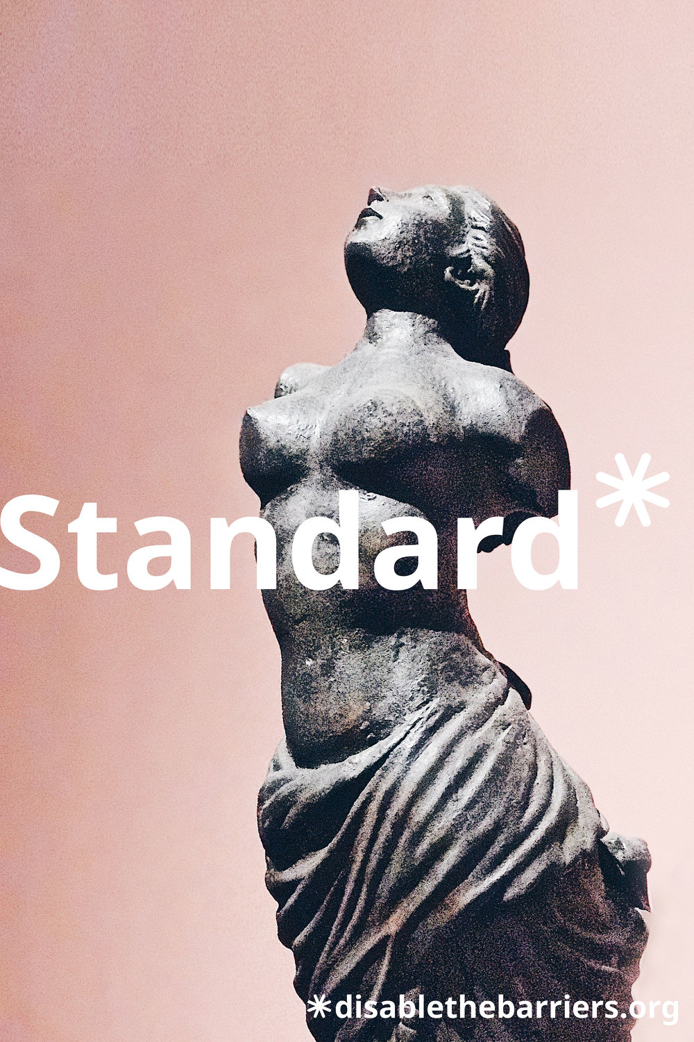 "Poster displaying the word ""Standard"" over a marble statue with no limbs."