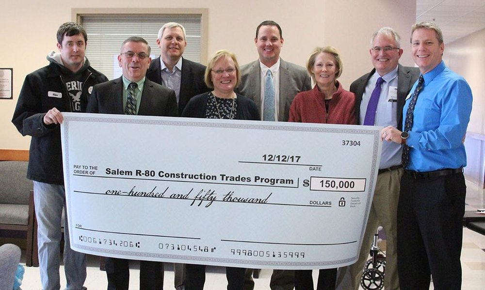 The Construction Trades Program was formally announced during the Salem Area Chamber of Commerce member luncheon Dec. 12 at Southwest Baptist University-Salem. From left, volunteers with the Dent County Community Foundation and representatives from Salem R-80, Alex Sellers, Dr. Bernie Sirois, Joe Brand, Mary Beth Cook, John McColloch, Genie Zakrzewski, Marty Anderson, and Joe Kammerer, Community Foundation of the Ozarks.