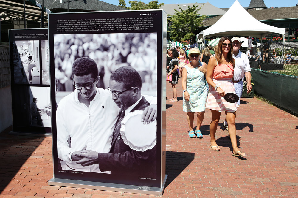 The Ashe '68 photo exhibit premiered at the International Tennis Hall of Fame, for their induction ceremony weekend, July, 2018.