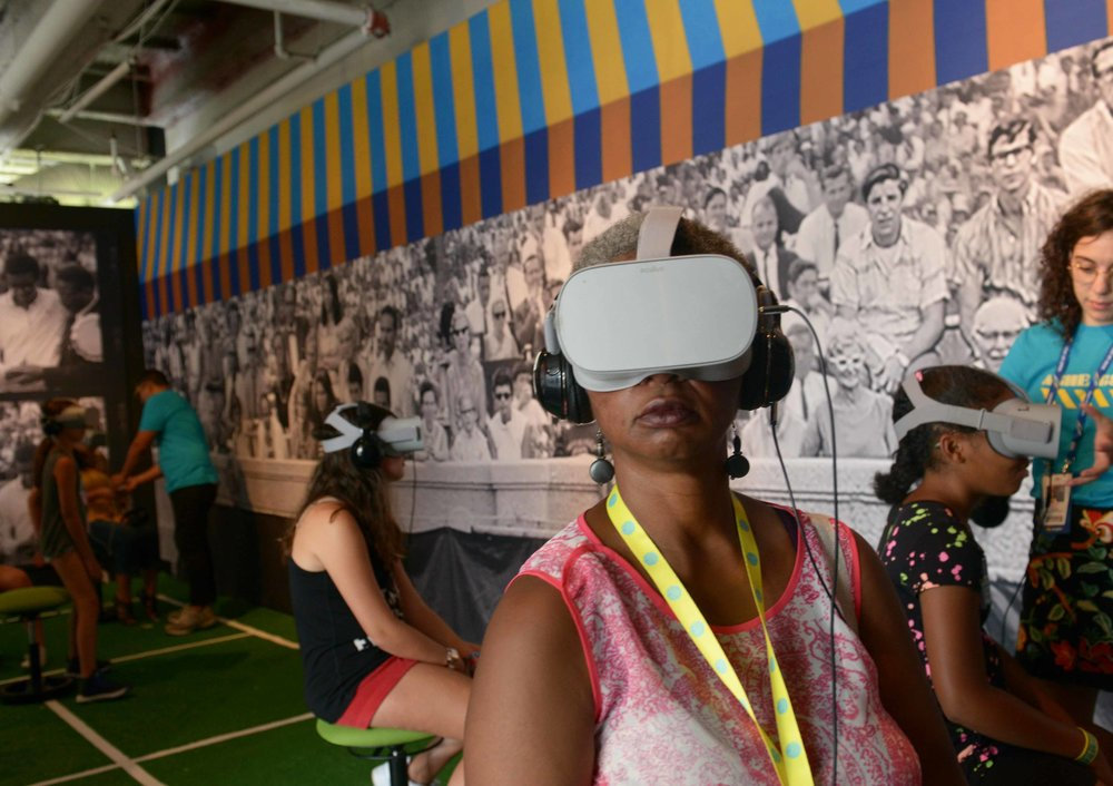 Viewers at the Ashe '68 VR Experience space at the 2018 US Open.