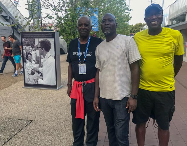 Arthur Ashe's friend Marvin Dent, (l), with former ATP Player Clement N'Goran of Ivory Coast (center)and friend.
