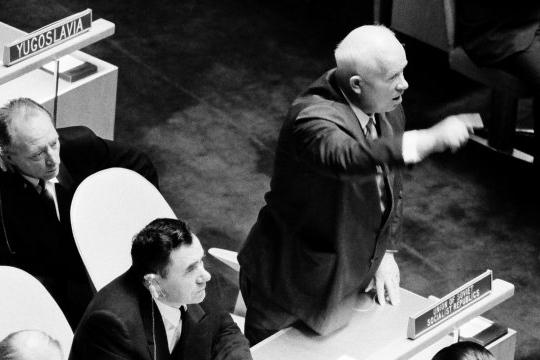 Khrushchev at UN General Assembly, 1960 (photo Yutaka Nagata)