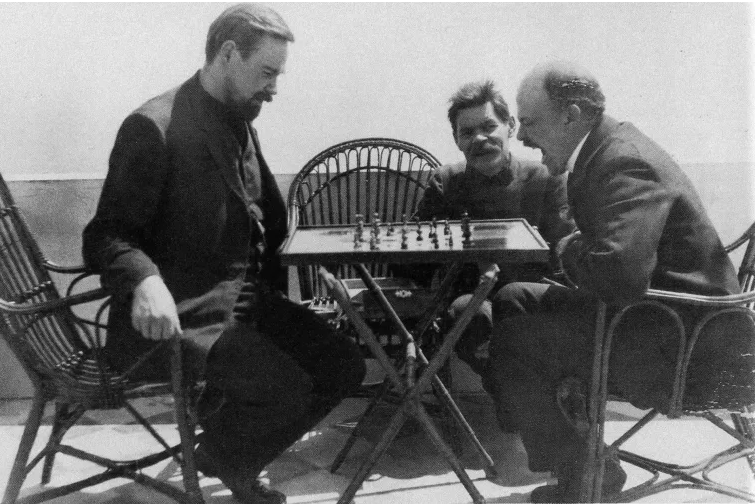 A. Bogdanov playing chess with Lenin, 1908. (UHA Getty Images)