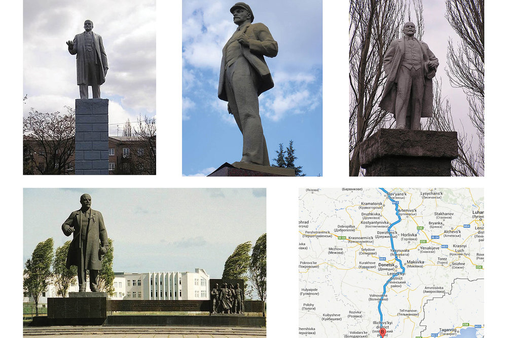 Research locating Lenin monuments in Donbass, Ukraine