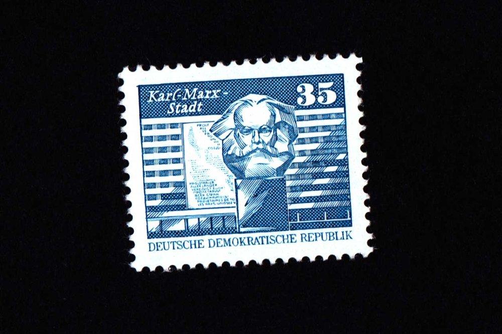 DDR era postage stamp with Chemnitz as Karl-Marx -Stadt