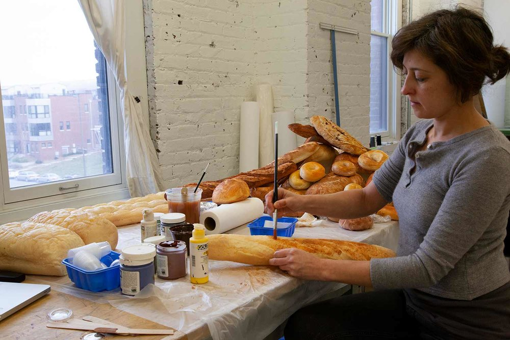 Painting cast models of breads