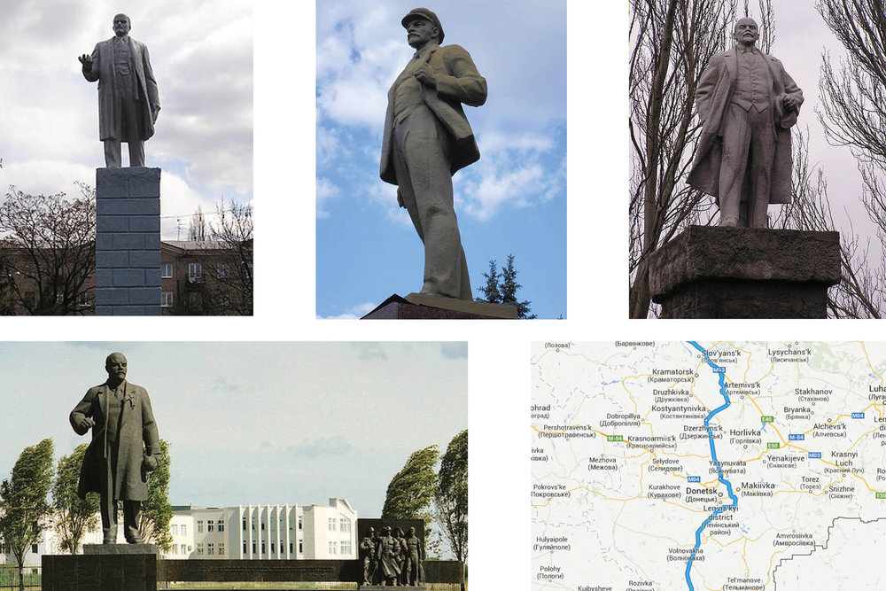Locations of Lenin monuments in Donbass, Ukraine