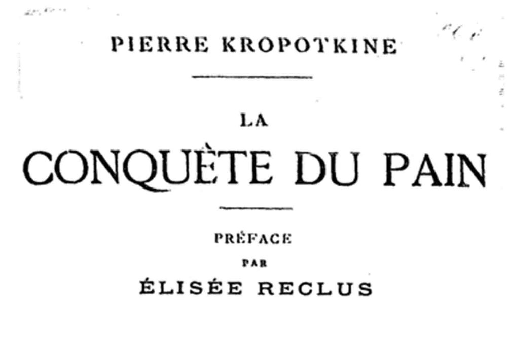 Peter Kropotkin's title page of 'The Conquest of Bread'