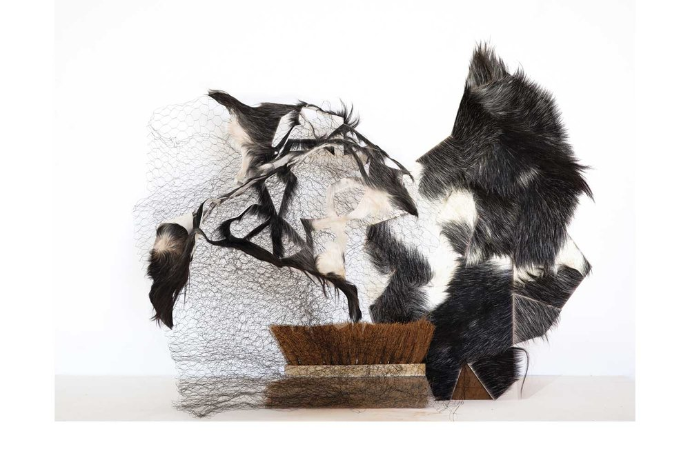 Sculpture (cleaning brush, wire, wood, goat hide)