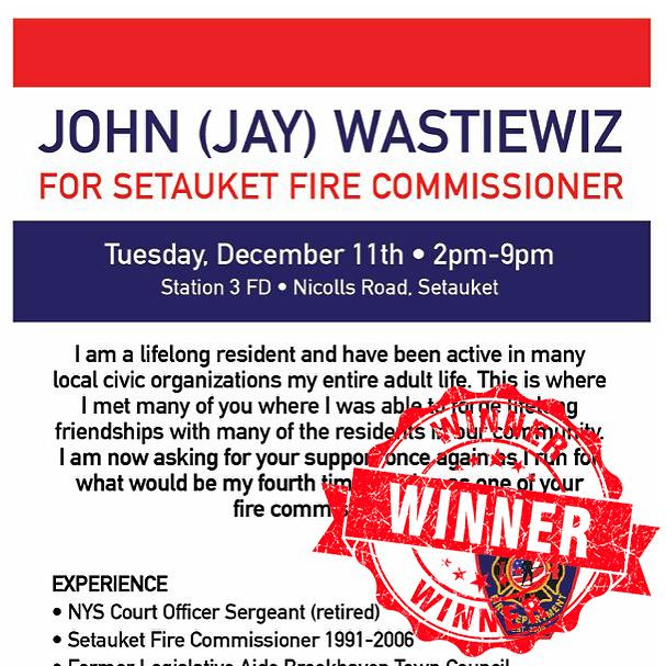 Setauket Fire Commissioner - John Jay Wastiewiz