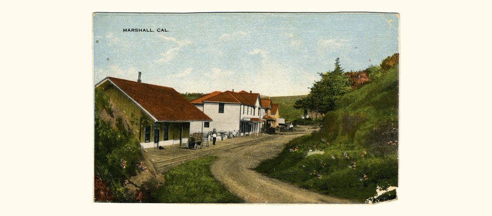 Hand-colored postcard of Marshall railroad depot (c. 1905)