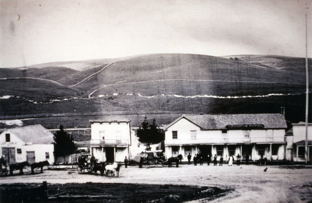 A late 19th century view of the once busy Lower Town, Tomales, looking south toward intersection of Highway One and Tomales‒Petaluma Road. The center building is still extant, its straight false front now gabled. The large building at right was the American Hotel.