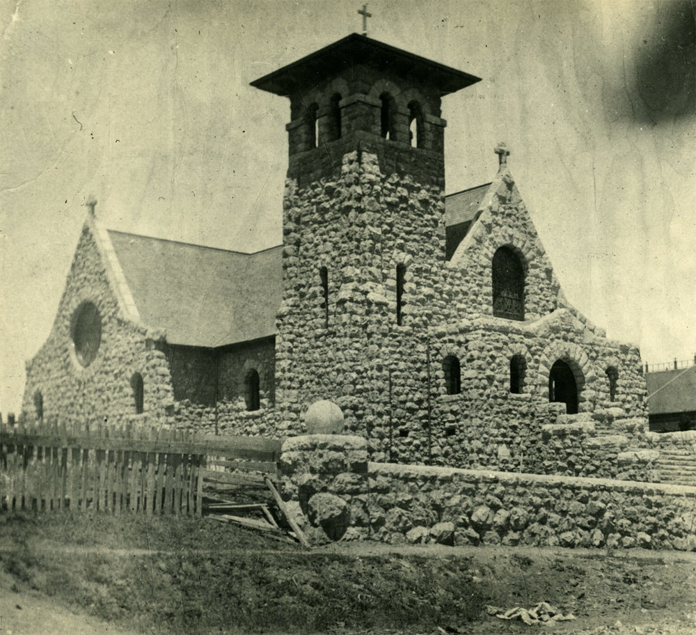 The brand new stone Catholic church at Tomales, built to replace the wood frame Church of the Assumption. Photo by Ella Jorgensen, circa 1900.