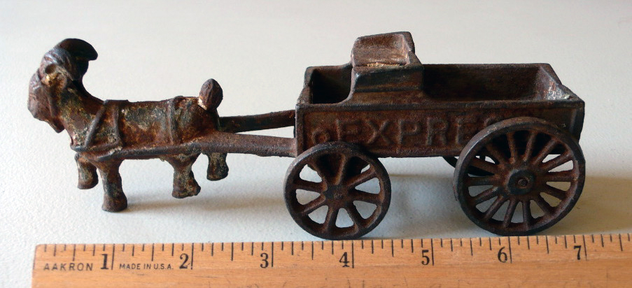 A toy goat cart, made of iron with still-functioning wheels, found buried in Tomales.