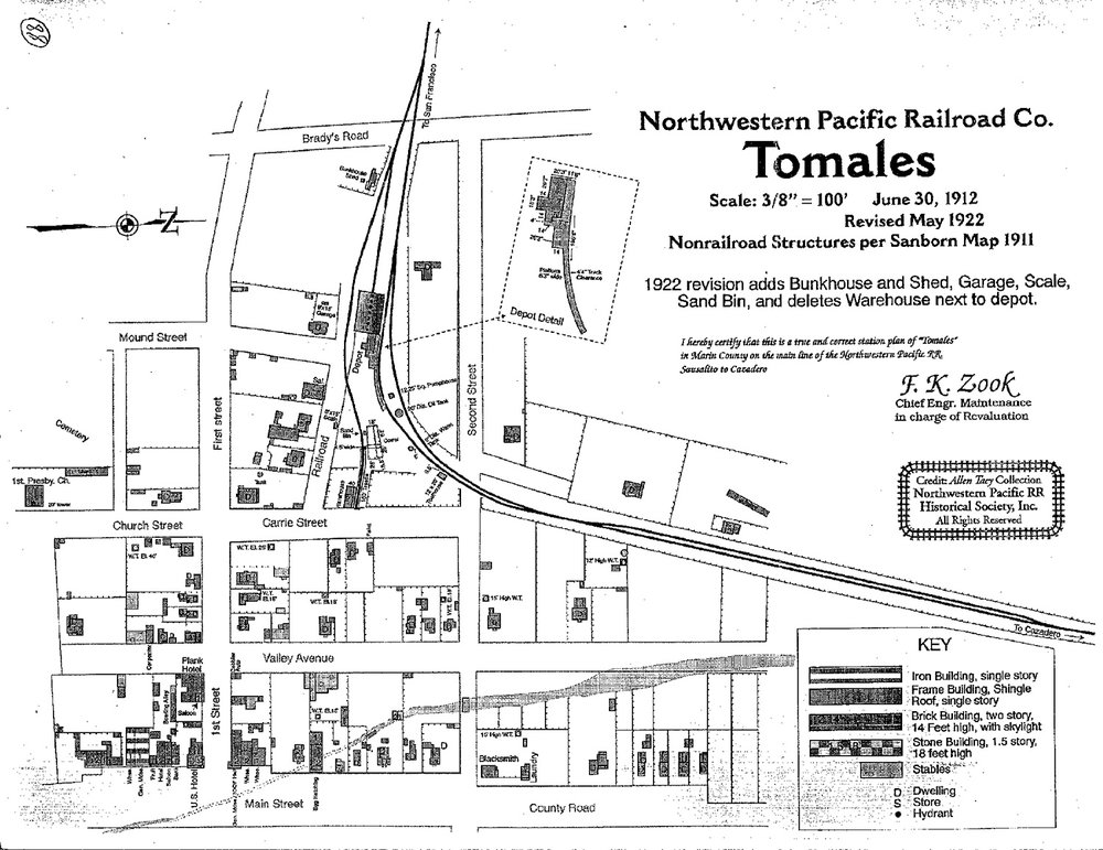 Northwestern Pacific Railroad Map of Tomales