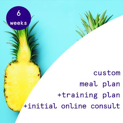 6 weeks - custom meal plans + training programs  $285.00USD