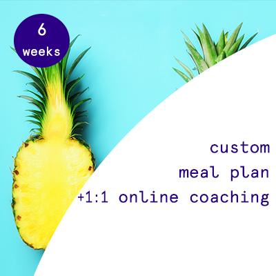 6 weeks - custom meal plans + 1:1 online coaching.  $315.00USD