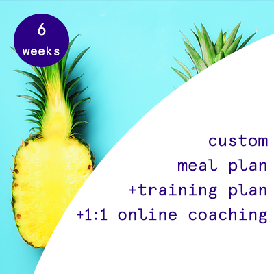 6 weeks - custom meal plans + training programs + 1:1 online coaching.  $435.00USD
