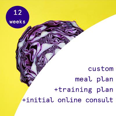 12 weeks - custom nutrition plans + training programs  $455.00USD