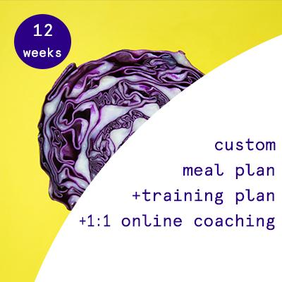 12 weeks - custom nutrition plans + training programs + 1:1 online coaching  $780.00USD