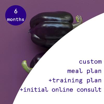 6 months - custom nutrition plans + training programs  $885.95USD